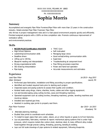 View Resume. Lead Pipe Fitter  Pipefitter Resume