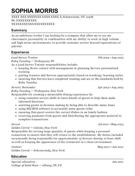 Best Lead Server Trainer Resumes ResumeHelp - Server trainer resume examples