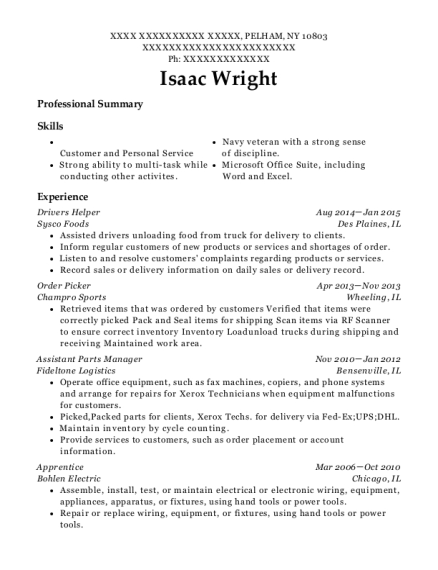 view resume - Parts Manager Resume