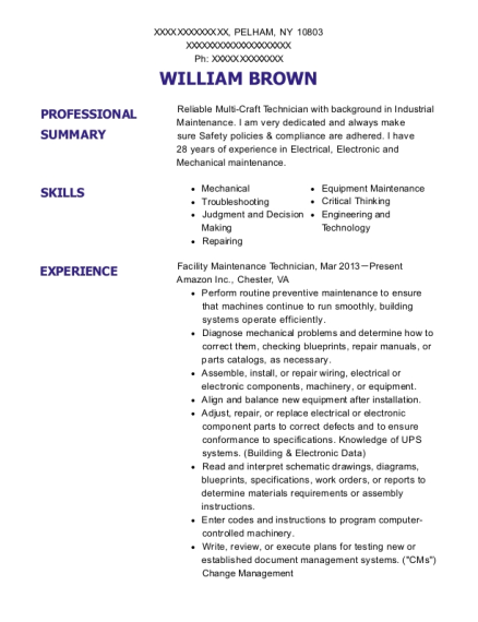 William Brown  Facility Maintenance Resume