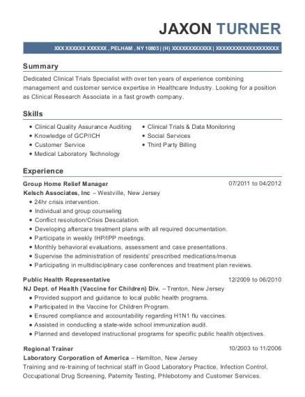 kelsch associates group home relief manager resume sample