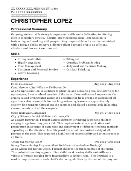 City Of Toronto Parks And Rec Camp Counsellor Resume Sample ...