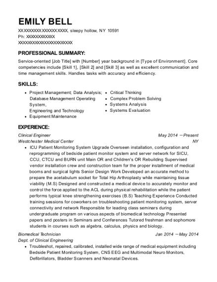 Best Biomedical Technician Resumes | ResumeHelp