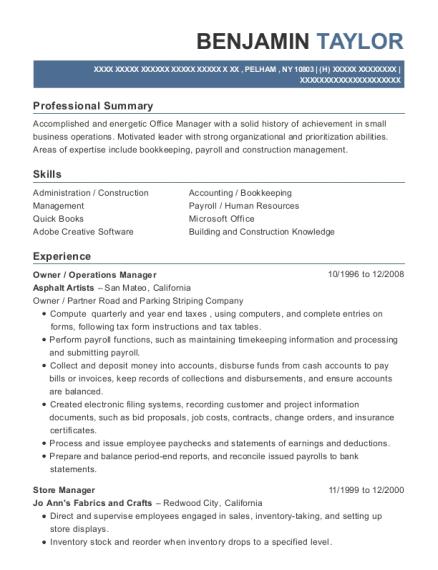 benjamin taylor - Payroll Operation Manager Resume