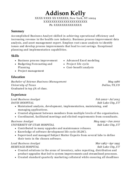 View Resume  Business Process Analyst Resume