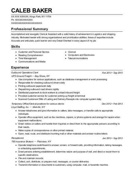 caleb baker - Operations Clerk Sample Resume