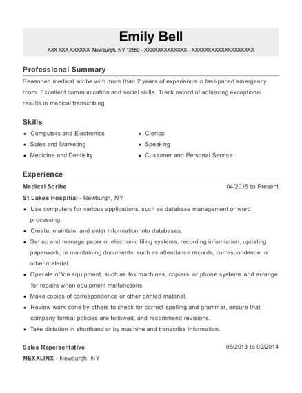 view resume - Medical Scribe Resume