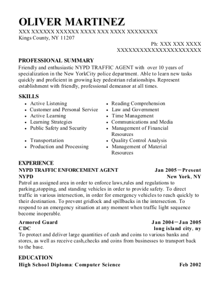 nypd nypd traffic enforcement agent resume sample kings county new