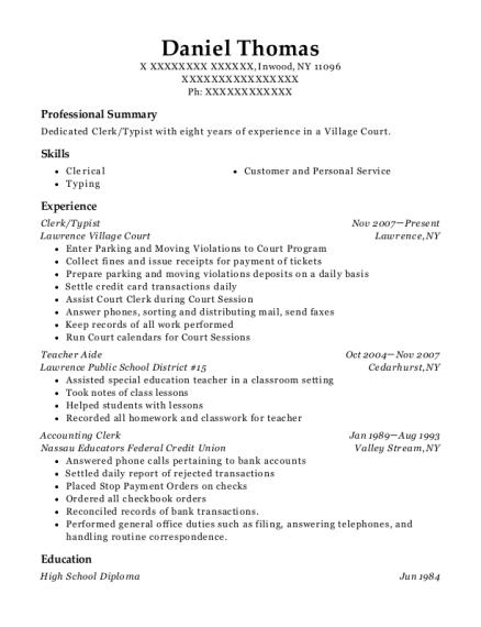 view resume - Typist Resume