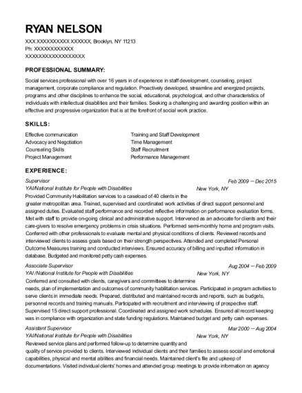 View Resume. Supervisor