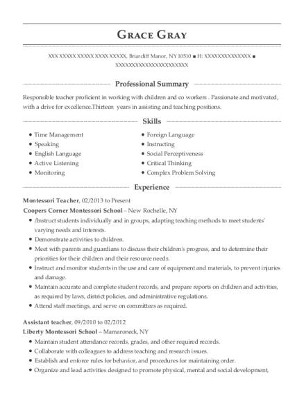 montessori teacher resume sample montessori teacher resume sample