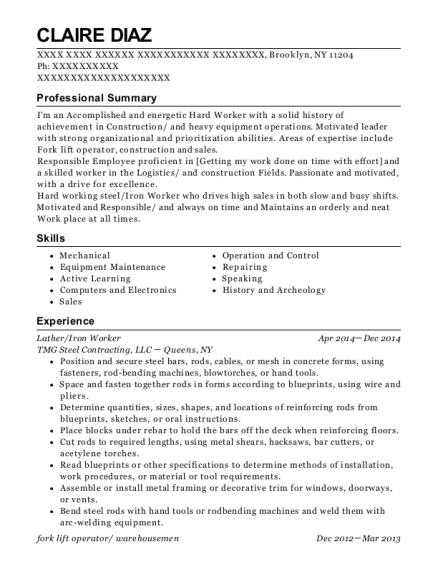 View Resume. Lather/Iron Worker
