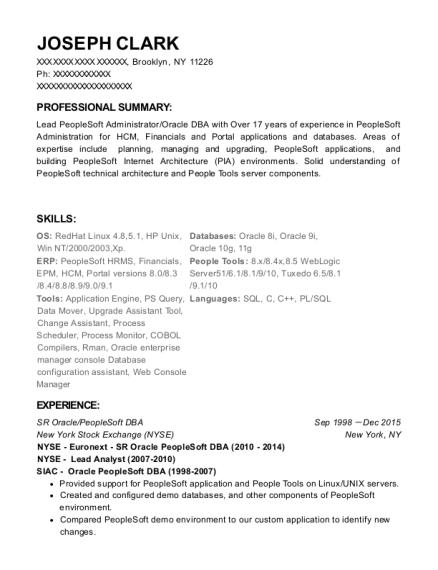 peoplesoft dba resume
