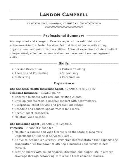 Combined Insurance Life Accident Resume Sample - Haverstraw New York ...