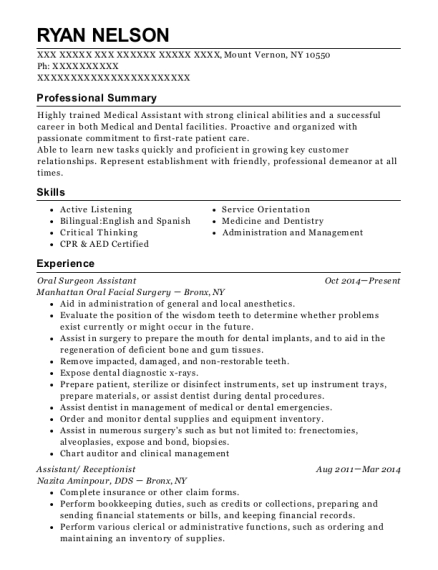 View Resume. Oral Surgeon Assistant