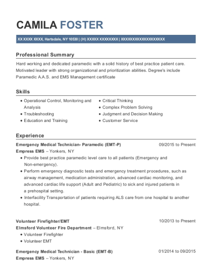 firefighter paramedic resume examples easy b sample emt cover