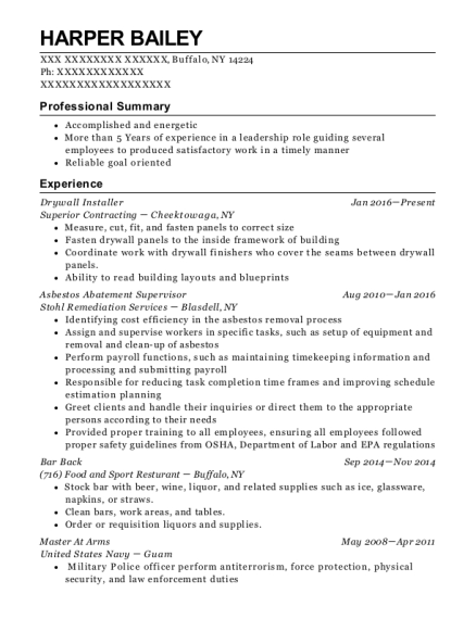 View Resume. Drywall Installer
