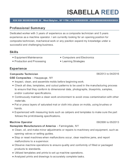 View Resume. Composite Technician