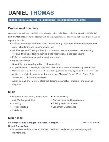 Best Electrical Manager Resumes   ResumeHelp