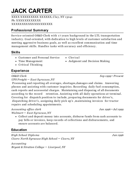 Ups Freight Os&d Clerk Resume Sample - Clay New York | ResumeHelp
