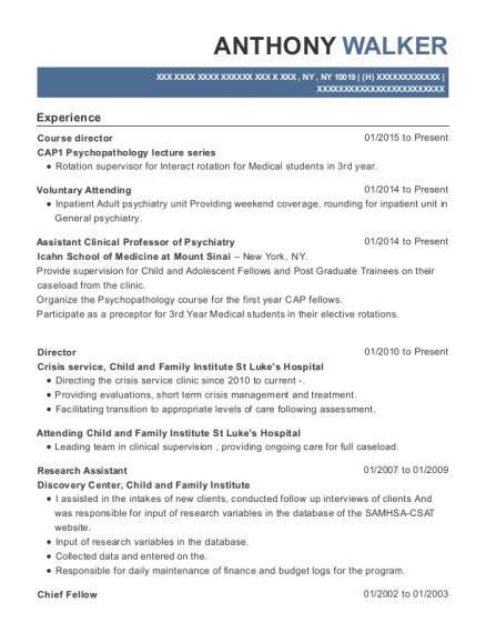 Best Assistant Clinical Professor Of Psychiatry Resumes | ResumeHelp