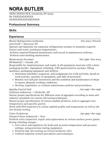 Best Master Refrigeration Technician Resumes | ResumeHelp