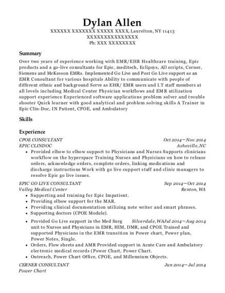 view resume - Epic Consultant