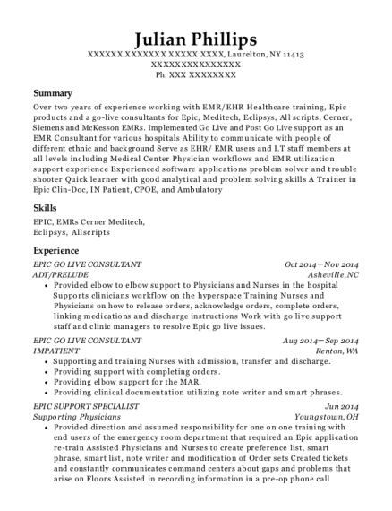 best epic go live support analyst resumes