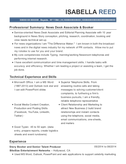 Best Story Booker And Talent Booker Resumes | ResumeHelp