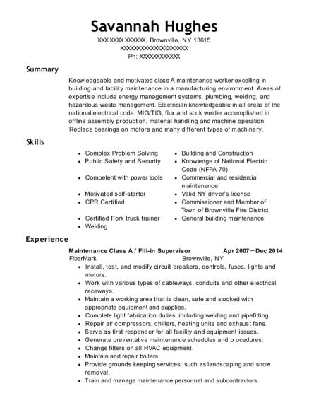 fibermark maintenance class a resume sample brownville new york