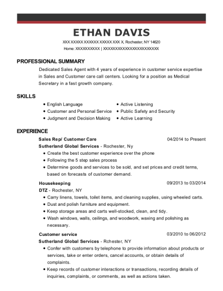 Sutherland Global Services Sales Rep Customer Care Resume Sample