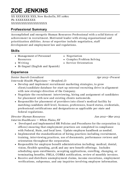 zoe jenkins - Physician Recruiter Resume