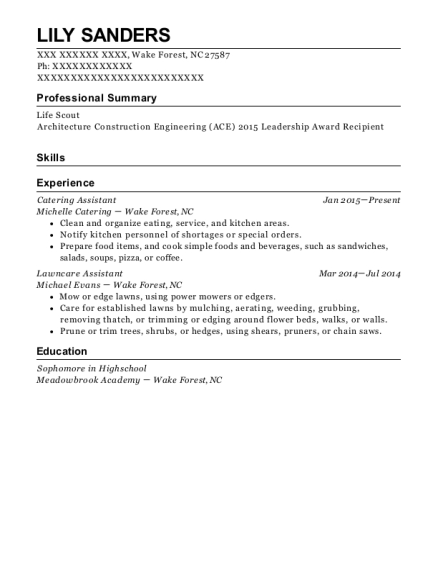 View Resume. Catering Assistant