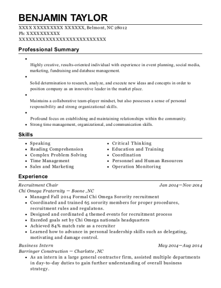 Chi Omega Fraternity Recruitment Chair Resume Sample - Belmont North ...