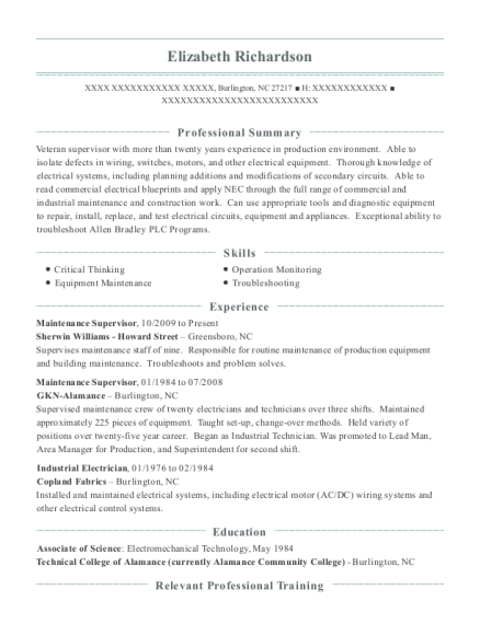 View Resume  Industrial Electrician Resume