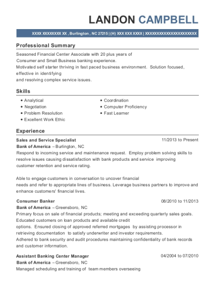 bank of america sales and service specialist resume sample