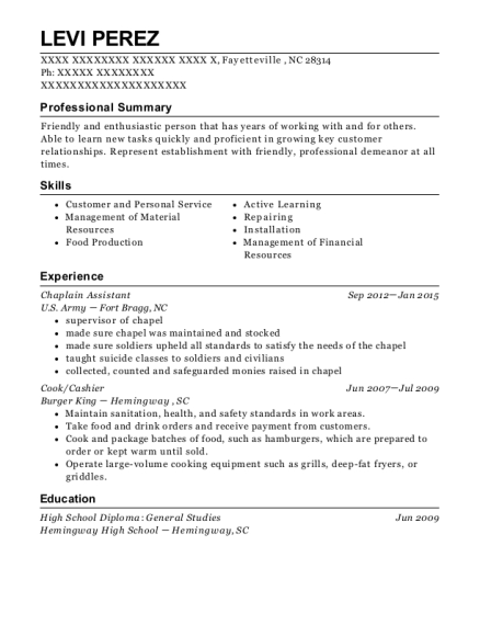 Elegant View Resume. Chaplain Assistant