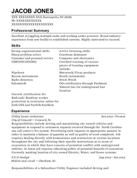 Best Utility Locate Technician Resumes   ResumeHelp