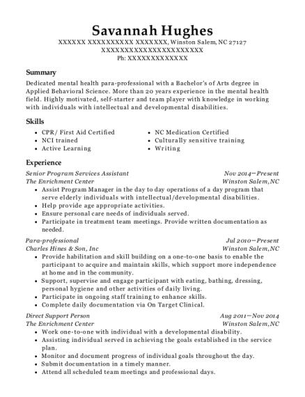 The Enrichment Center Senior Program Services Assistant Resume