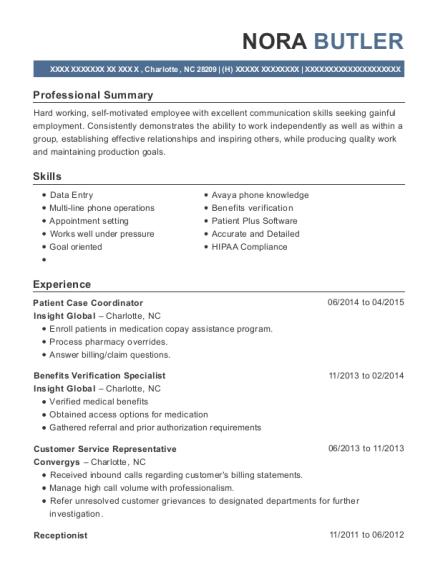 lash group patient case coordinator resume sample