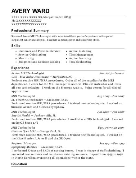 Avery Ward  Mri Technologist Resume
