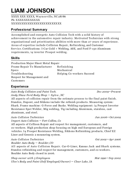 andy shaw ford body shop auto body collision and paint tech resume