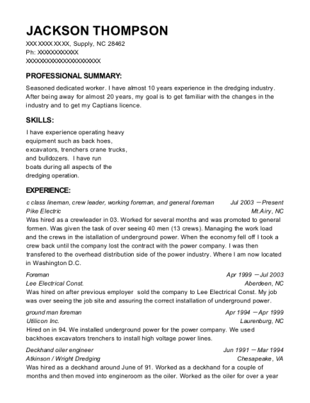 pike electric c class lineman resume sample supply north carolina