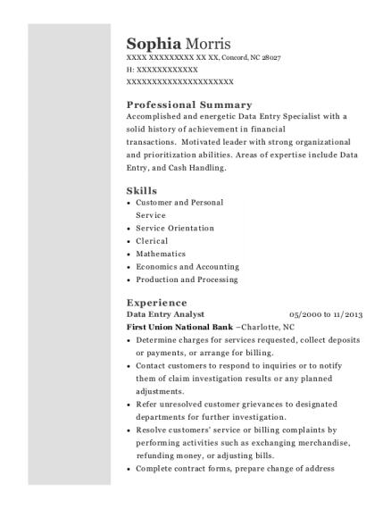 sophia morris - Operations Clerk Sample Resume