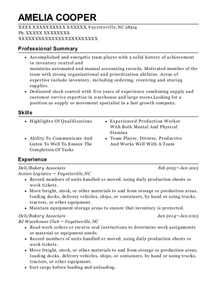 Amelia Cooper  Stock Clerk Resume