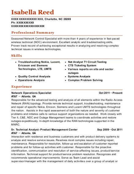 View Resume. Network Operations Specialist