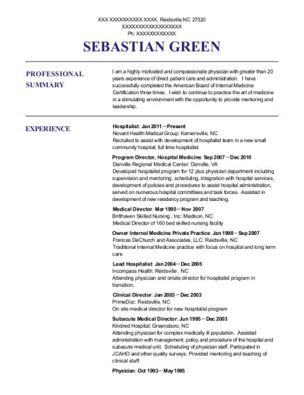 Best Attending Physician Resumes | ResumeHelp