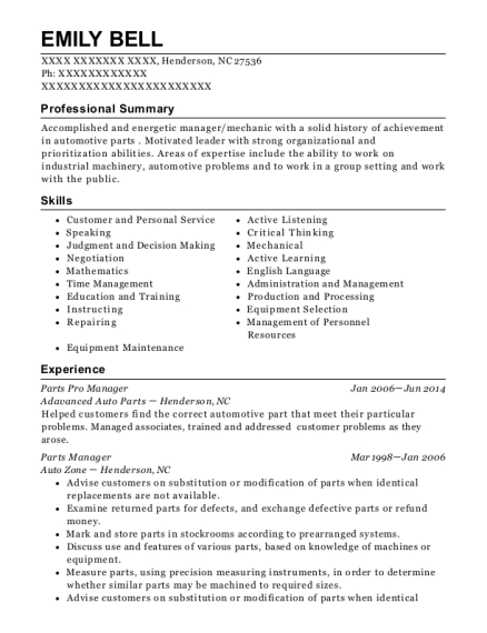 View Resume. Parts Pro Manager
