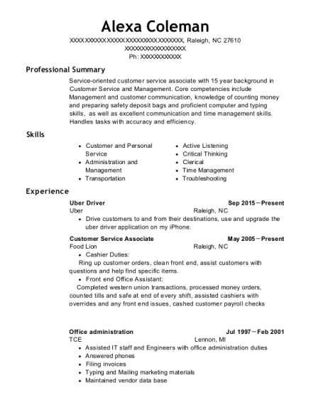 view resume - Uber Driver Resume