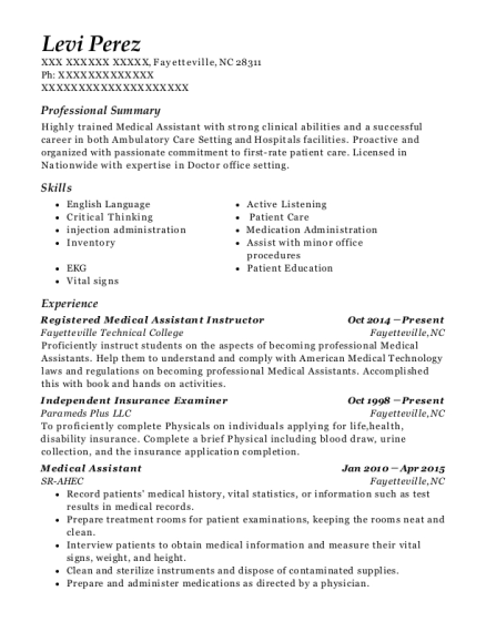 levi perez - Medical Assistant Instructor Resume